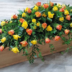 Yellow & Orange Rose Coffin Spray